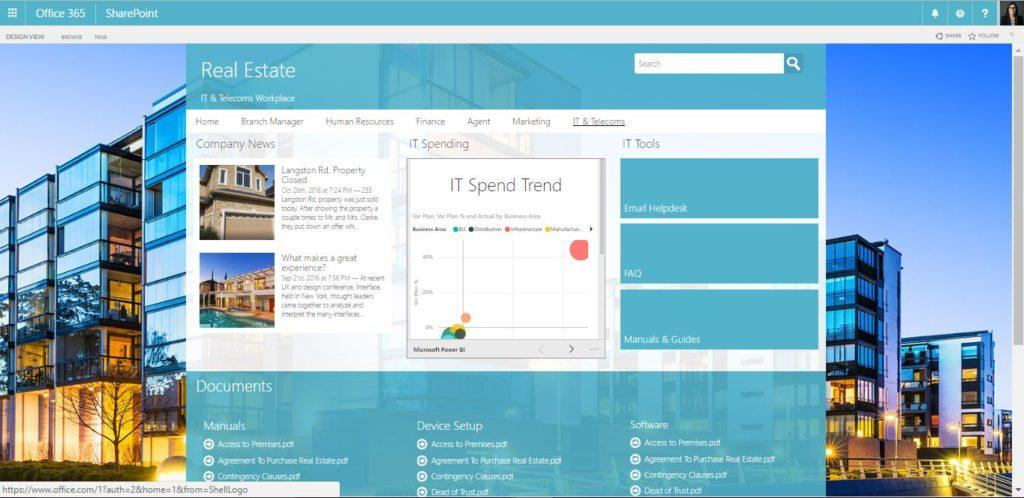 Real Estate intranet design with LiveTiles