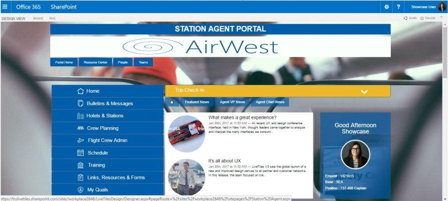 Streamline flight operations with LiveTiles intranet software