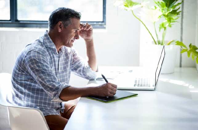 Moorabool Council man on a laptop