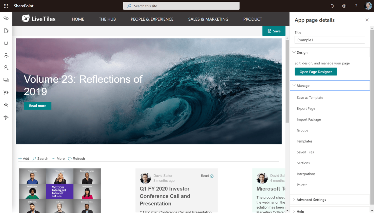 Example of a page created with V5 Modern.