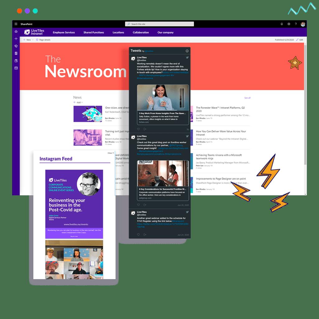 SharePoint Intranet News screenshots with LiveTiles