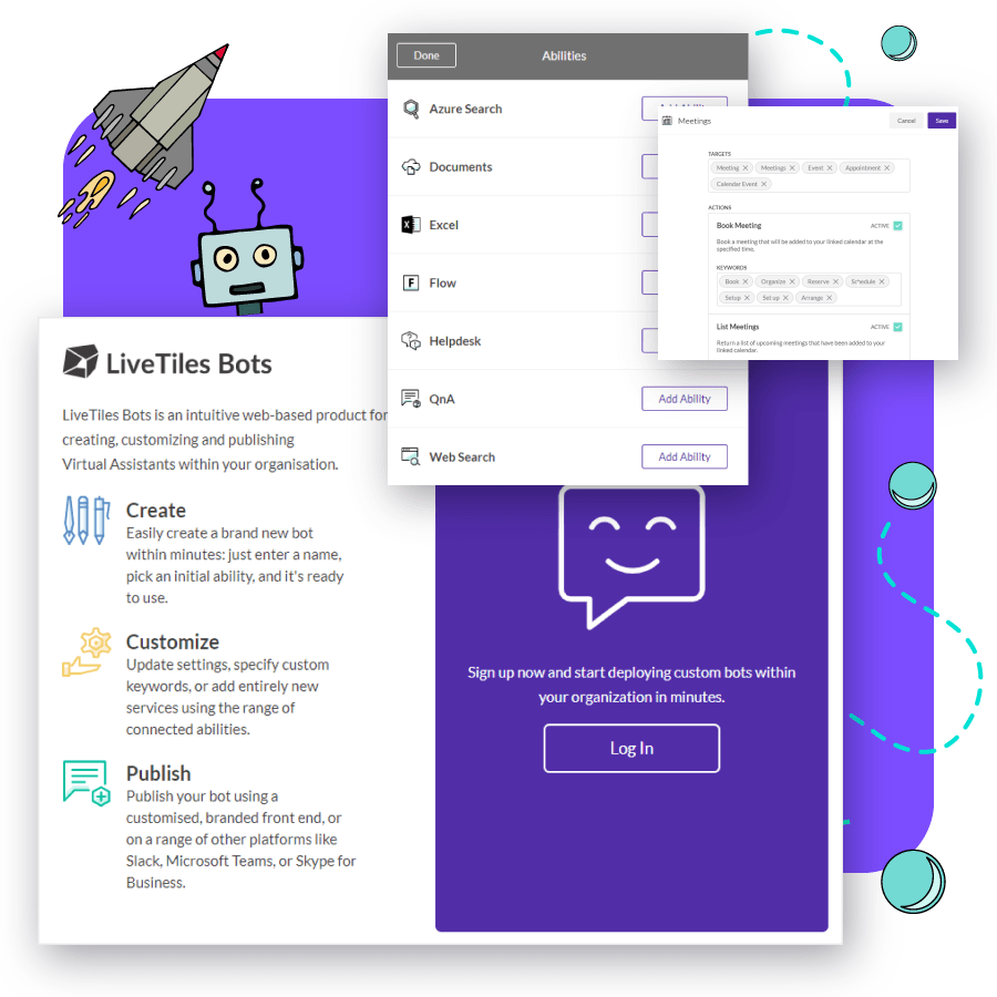 LiveTiles create bots for business functionality example