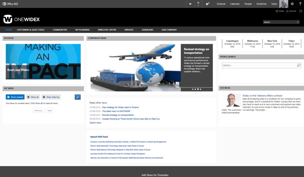 Widex healthcare enterprise intranet home page