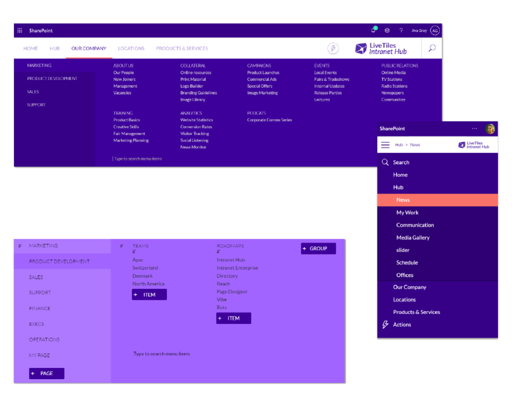 Intranet content search and navigation screen examples