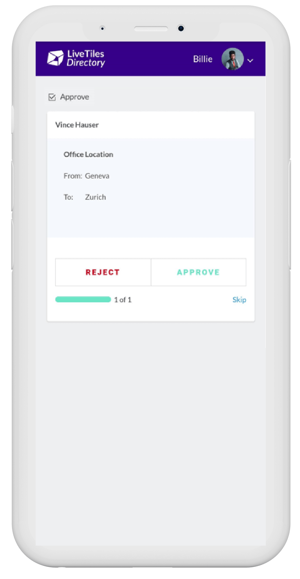 Directory on mobile screenshot from LiveTiles
