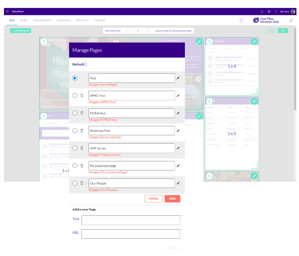 INtranet in a box Page Management with LiveTiles screenshots