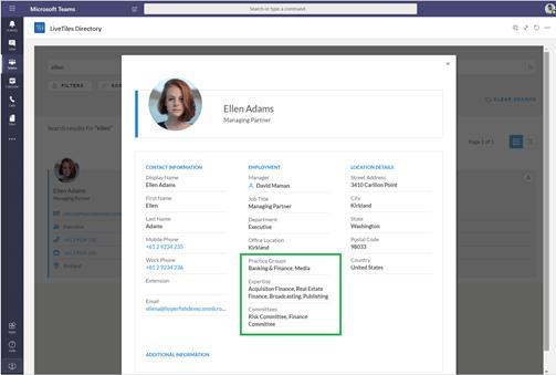 Microsoft Teams employee profile with customizable attritbutes