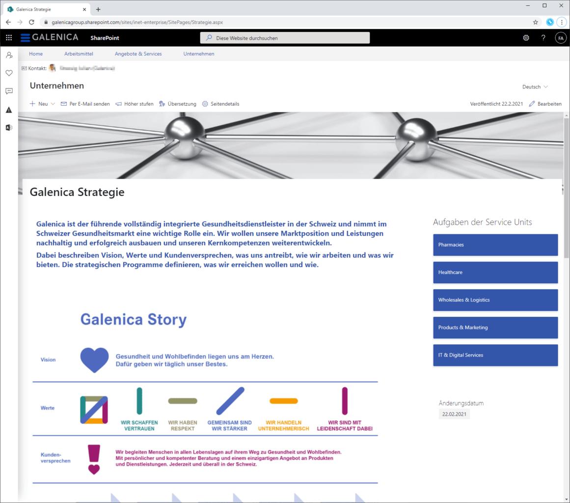 Galenica intranet screenshot