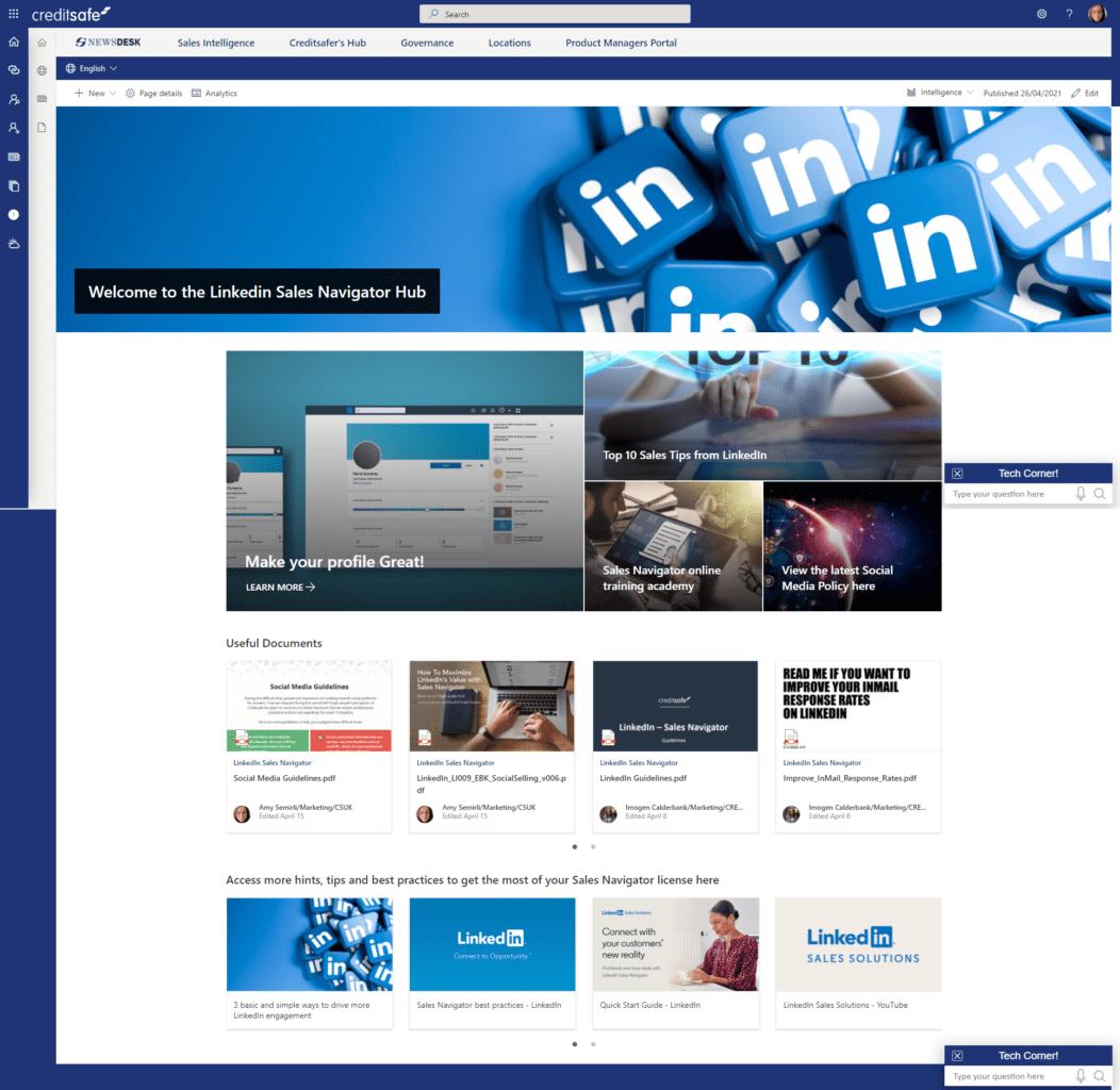 Creditsafe SharePoint intranet screenshot