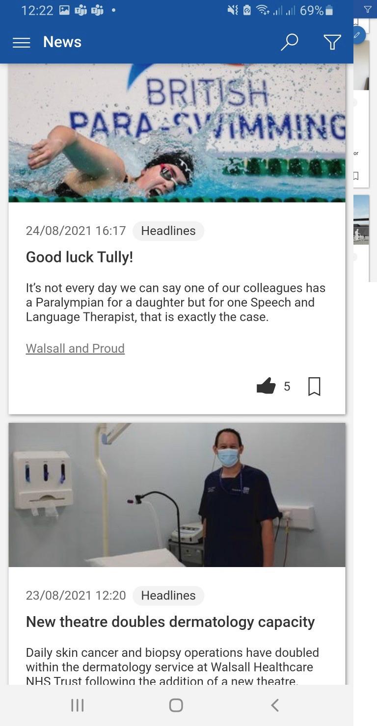 Walsall-nhs-intranet-reach-paraswimming-screenshot