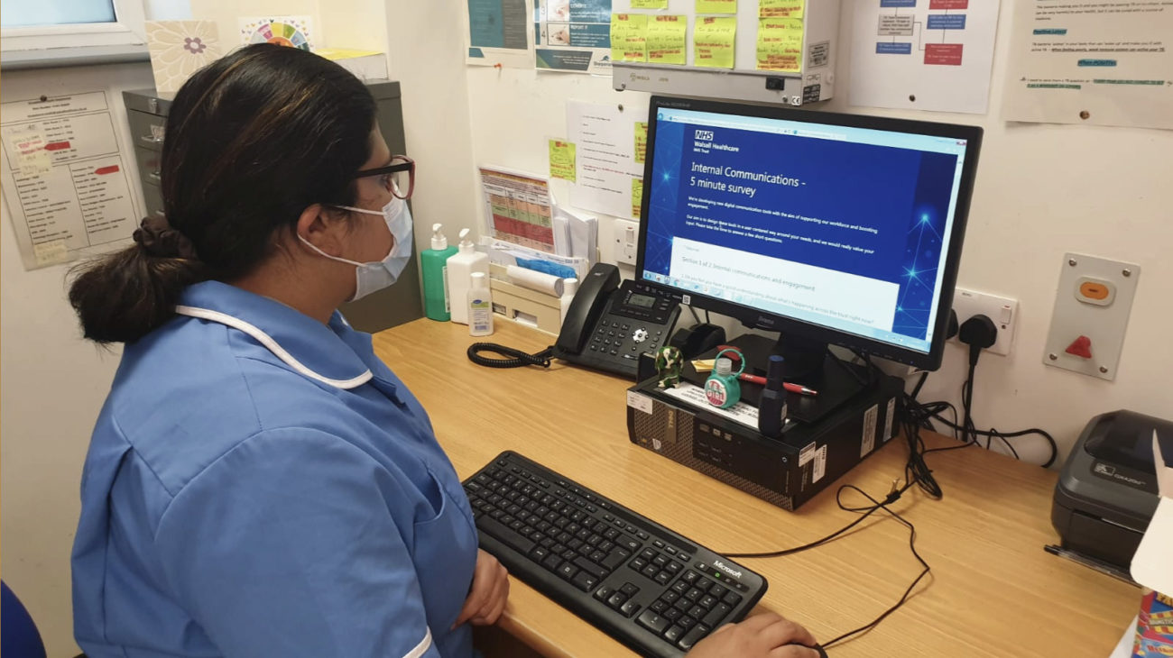 Walsall Healthcare NHS Trust frontline worker using the LiveTiles intranet