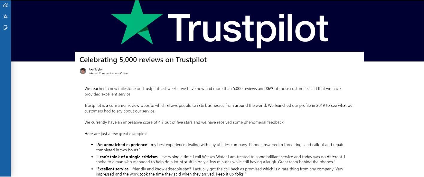 Wessex Water Trustpilot integration on the intranet screenshot