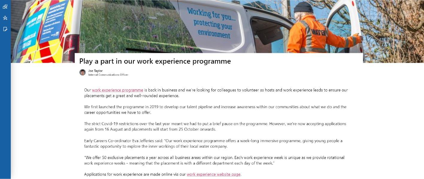 Wessex Water Apprenticeship programme intranet screenshot